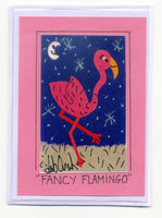 FANCY FLAMINGO - Florida Folk Art Print in a Magnet - art by debOrah