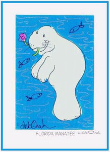 "FLORIDA MANATEE  -  5"" x 7"" Art Print, Hand-Decorated, Limited-Edition - art by debOrah"