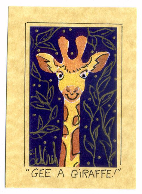 Gee, A Giraffe! - Art Print in a Magnet - art by debOrah