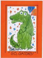 GO, GATORS! - UF University of Florida Alligator Art Print in a Magnet - art by debOrah