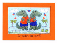 Gators in Love - UF University of Florida Alligator Art Print in a Magnet - art by debOrah