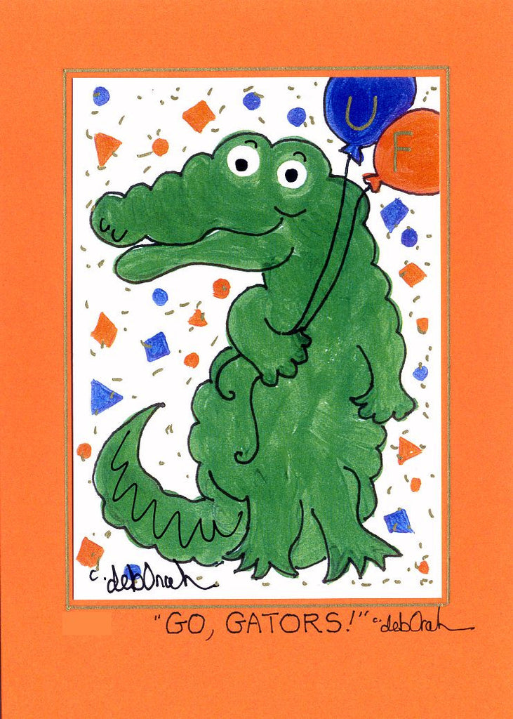 "GO, GATORS ! - University of Florida UF Alligator 5"" x 7"" Art Print, Hand-Decorated, Limited-Edition - art by debOrah"