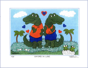 "GATORS IN LOVE - University of Florida UF Alligators 8.5"" x 11"" Art Print, Hand-Decorated, Limited-Edition - art by debOrah"