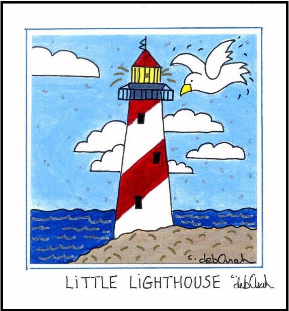 LITTLE LIGHTHOUSE - Framed SQUARE Art Print - art by debOrah