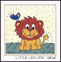 LITTLE LEO LION - Framed SQUARE Art Print - art by debOrah