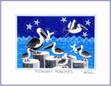 "MIDNIGHT MUNCHIES - PELICANS AND FISH - 8"" x 10"" Art Print, Hand-Decorated, Limited-Edition - art by debOrah"