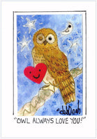 OWL ALWAYS LOVE YOU! - Folk Art Bird Print in a Magnet - art by debOrah