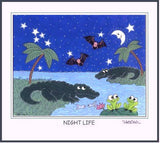 "Florida Night Life - Alligators, Frogs & Bats! 11"" x 14"" Art Print, Hand-Decorated, Limited-Edition - art by debOrah"