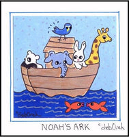 NOAH'S ARK- Bible Story - Animals - Framed SQUARE Art Print - art by debOrah