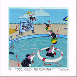 "POOL RULES - Mice in the Swimming Pool - 8"" x 8"" Hand-Decorated, Limited-Edition SQUARE Art Print FRAMED - art by debOrah"