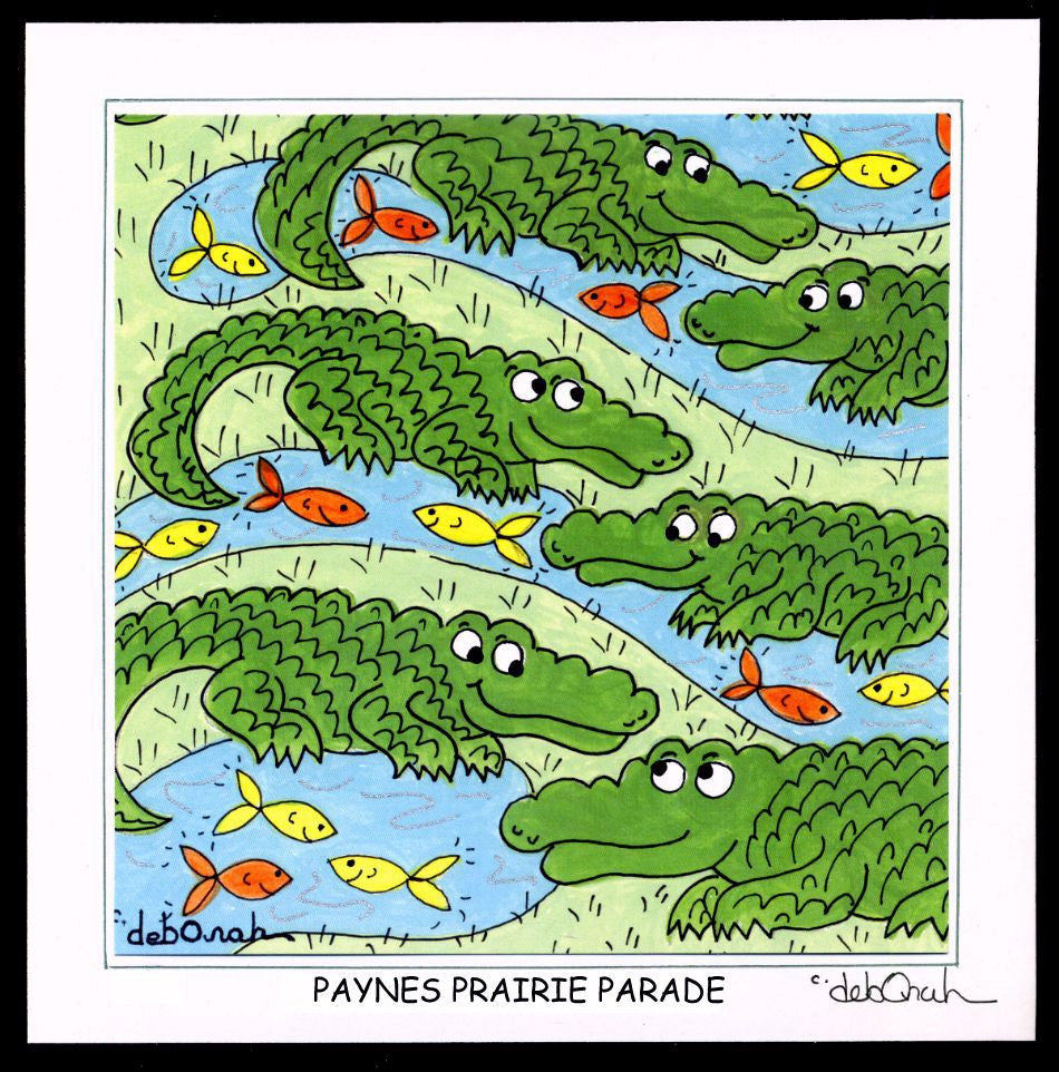 "PAYNES PRAIRIE PARADE  - Florida Alligators - 8"" x 8"" Hand-Decorated, Limited-Edition SQUARE Art Print - art by debOrah"