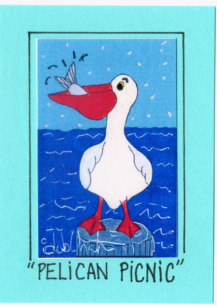 PELICAN PICNIC - Florida Folk Art Print in a Magnet - art by debOrah