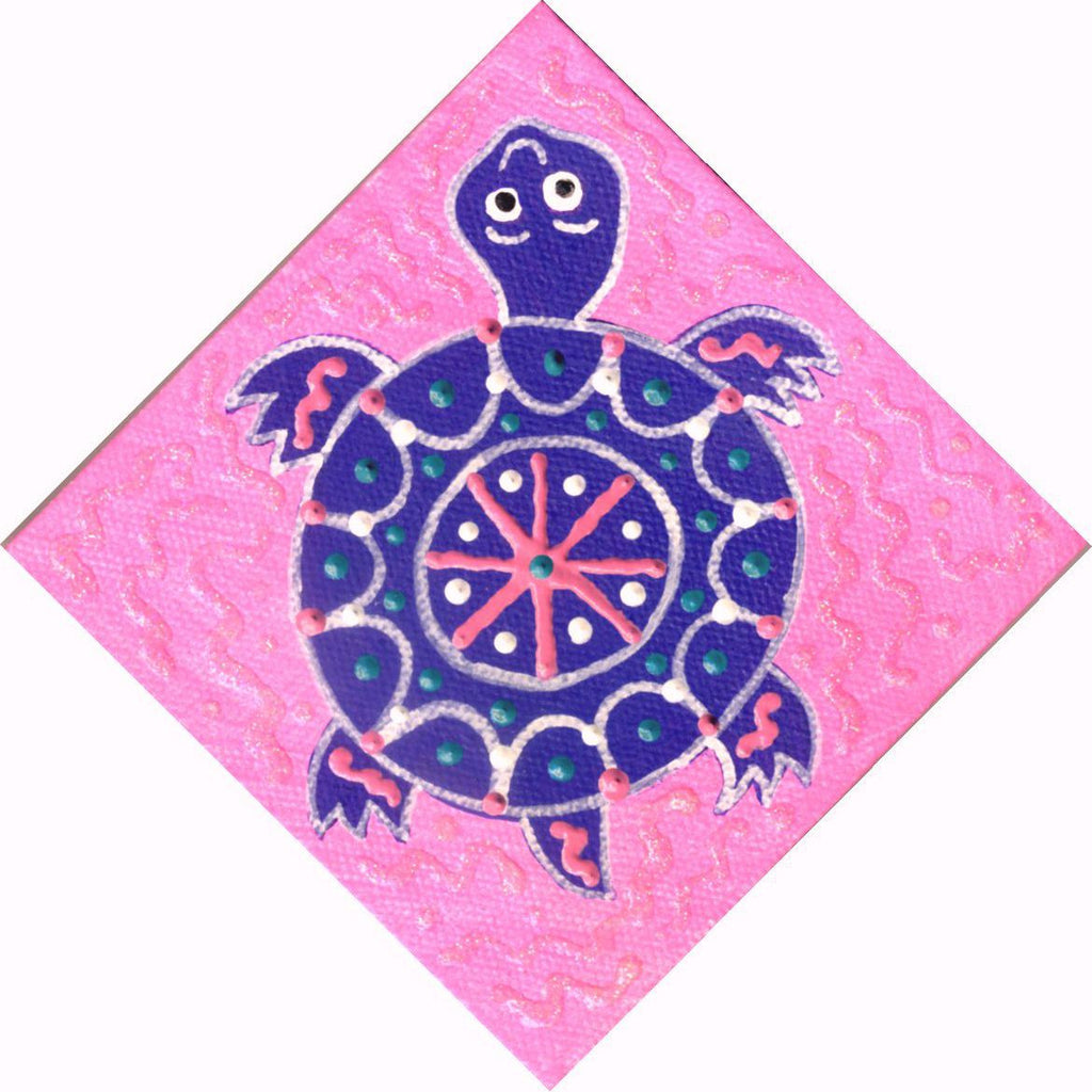 Baby Purple Turtle - Square Painting on Canvas - art by debOrah