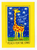 REACH FOR THE STARS ! - Giraffe Art Print in a Magnet - art by debOrah