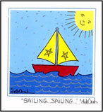 SAILING...SAILING.. - SAILBOAT - Framed SQUARE Art Print - art by debOrah