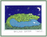 "SMILING GATOR  -  5"" x 7"" ALLIGATOR Folk Art Print, Hand-Decorated, Limited-Edition - art by debOrah"