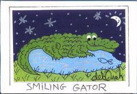 SMILING GATOR -  Florida Alligator Folk Art Print in a Magnet - art by debOrah