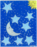 "SUN, MOON AND STARS -  8"" x 10"" Art Print, Hand-Decorated, Limited-Edition - art by debOrah"