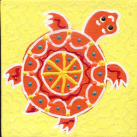 Baby Orange Turtle - Square Painting on Canvas - art by debOrah