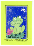 THINK POSITIVELY! - Folk Art Frog Print in a Magnet - art by debOrah