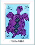 "TROPICAL TURTLE  -  5"" x 7"" Art Print, Hand-Decorated, Limited-Edition Folk - art by debOrah"