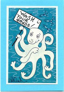 "WASH YOUR HANDS ! - 5"" x 7"" Octopus Art Print,  Hand-Decorated, Limited-Edition - art by debOrah"