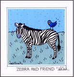 ZEBRA AND FRIEND - (Bluebird) SQUARE Art Print FRAMED - art by debOrah