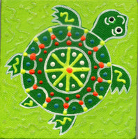 Baby Avocado-Green Turtle - Square Painting on Canvas - art by debOrah
