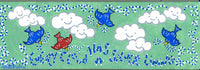 EVERY CLOUD HAS A SILVER LINING - Folk Art Bluebirds of Happiness Painting on Canvas - art by debOrah