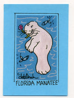FLORIDA MANATEE - Art Print in a Magnet - art by debOrah