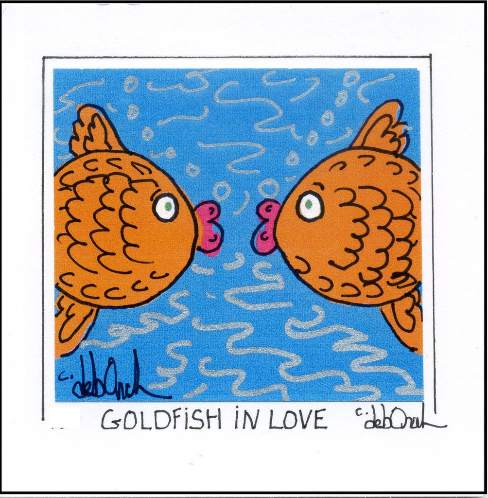 GOLDFISH IN LOVE - ROMANTIC FISH - Framed SQUARE Art Print - art by debOrah