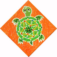 Baby Key Lime Green Turtle - Square Painting on Canvas - art by debOrah