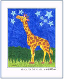 "REACH FOR THE STARS - Giraffe and Stars 11"" x 14"" Art Print, Hand-Decorated, Limited-Edition - art by debOrah"