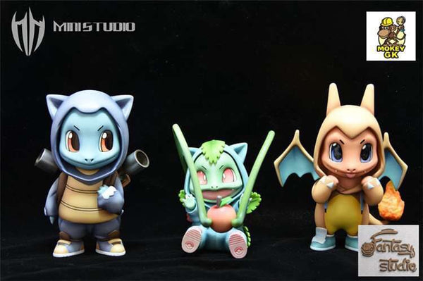 Charmander Bulbasaur Squirtle Hoodie - Pokemon Resin Statue - Mini Studio