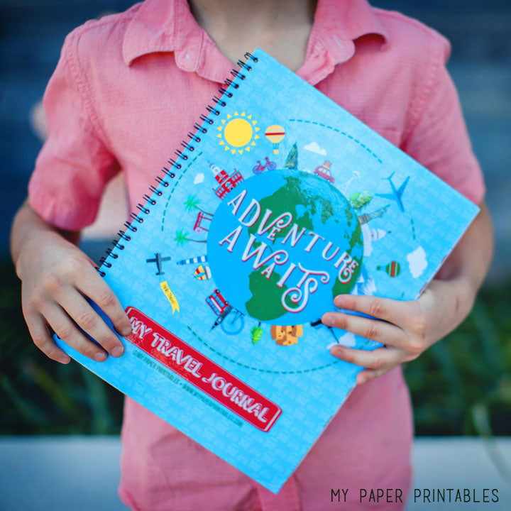 Kids Travel Journal Blue - 4 Weeks Instant Download Bundle