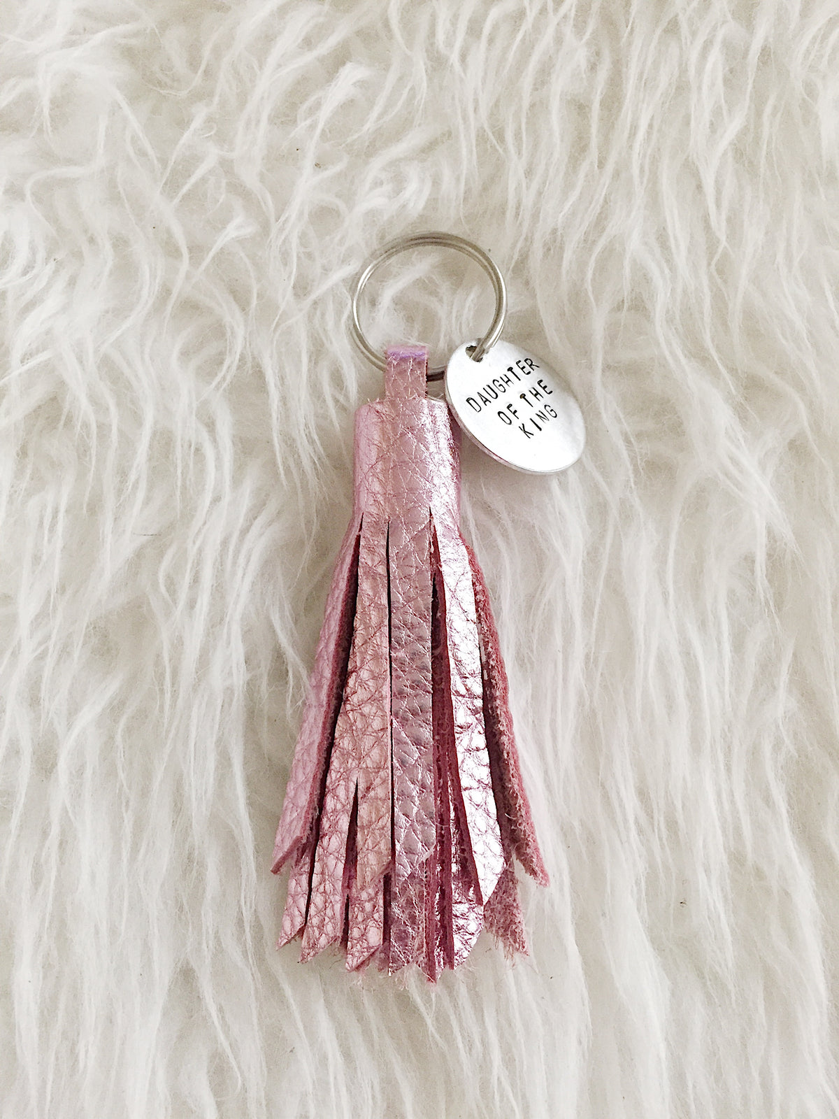 Metallic Pink Leather Tassel Keychain