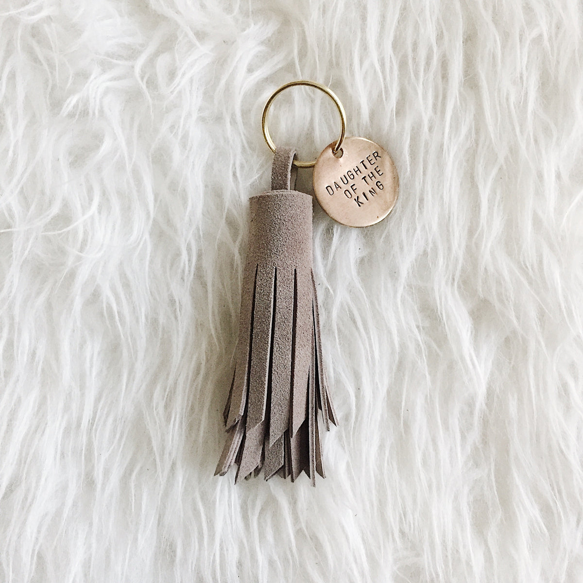 Earthy Gray Leather Tassel Keychain