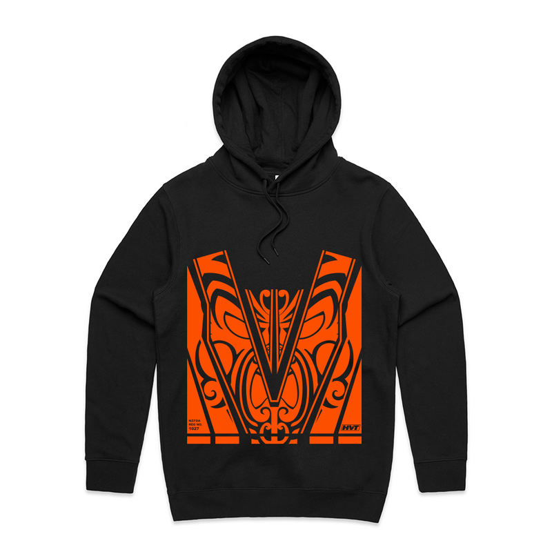 Maori Pattern Hoodie - with Orange Hi-Vis