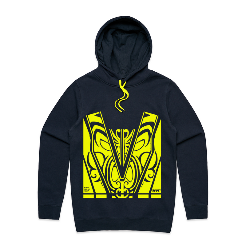 Maori Pattern Hoodie - with Yellow Hi-Vis