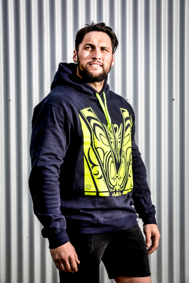 Hoodie- Dark Navy with Yellow Hi-Vis - Hi-Vis-Trends