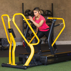 High intensity resistance parachute runs with the speed harness on the Abs Sled Mill.