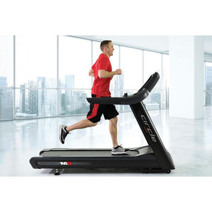 Circle Fitness M8 Treadmill with Athlete Running.