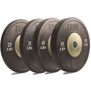 Troy Barbell Black Competition Bumper Plate Family.