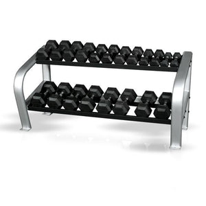 Inflight Fitness Deluxe 2 Tier Rack with 5-50 lbs hex dumbbells