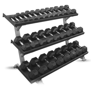 Inflight Fitness 3 Tier Dumbbell Rack with dumbbells 5 to 75 lbs.