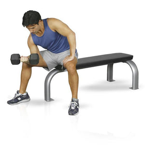 Inflight Fitness 5002 Flat Bench with black padding and silver frame.