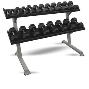"Inflight Fitness Commercial 2-Tier 69"" Dumbbell Rack shown with 5 to 50 lb dumbbells."