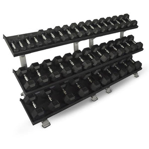 "Inflight Fitness Commercial 3 Tier 108"" Dumbbell Rack system with 5-100lb rubber dumbbells."