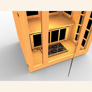 JNH LifeStyles Infrared Sauna Foot Warmer seen through transparent sauna door.