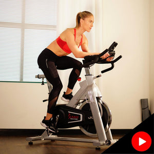 Sunny Health & Fitness SF-B1735 Commercial Belt Driven Indoor Cycling Bike with Monitor